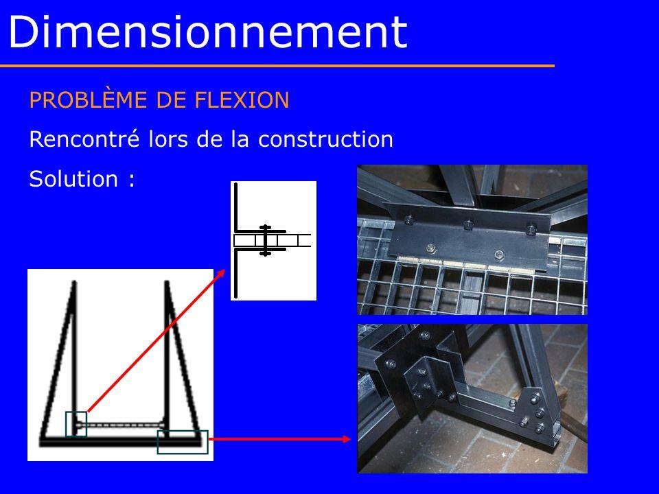 Dimensionnement PROBLÈME DE FLEXION Rencontré lors de la construction