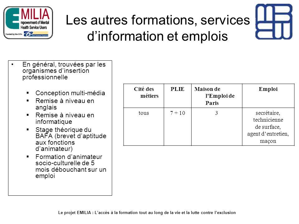 Les autres formations, services d'information et emplois