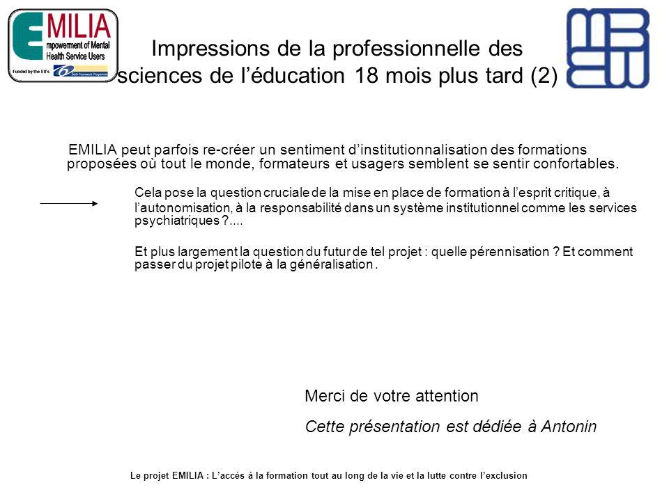 Impressions de la professionnelle des sciences de l'éducation 18 mois plus tard (2)