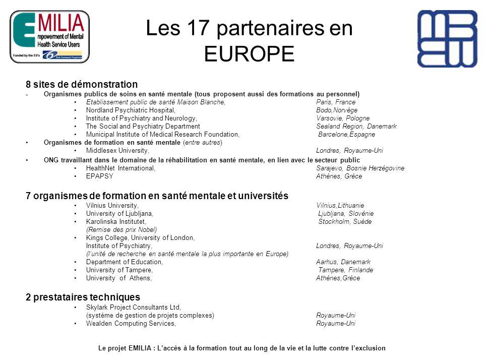 Les 17 partenaires en EUROPE