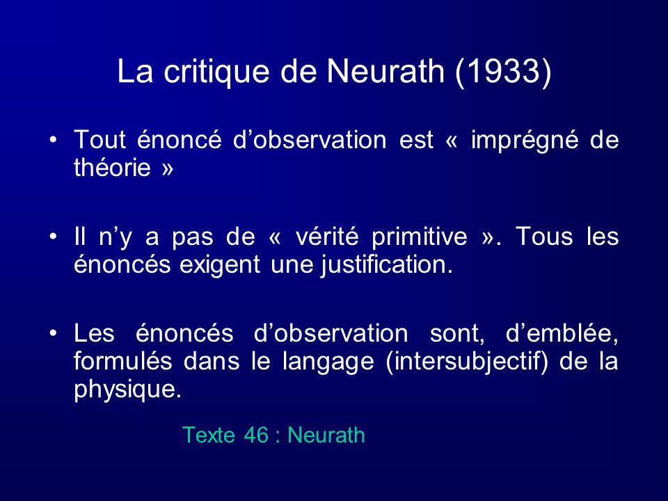 La critique de Neurath (1933)