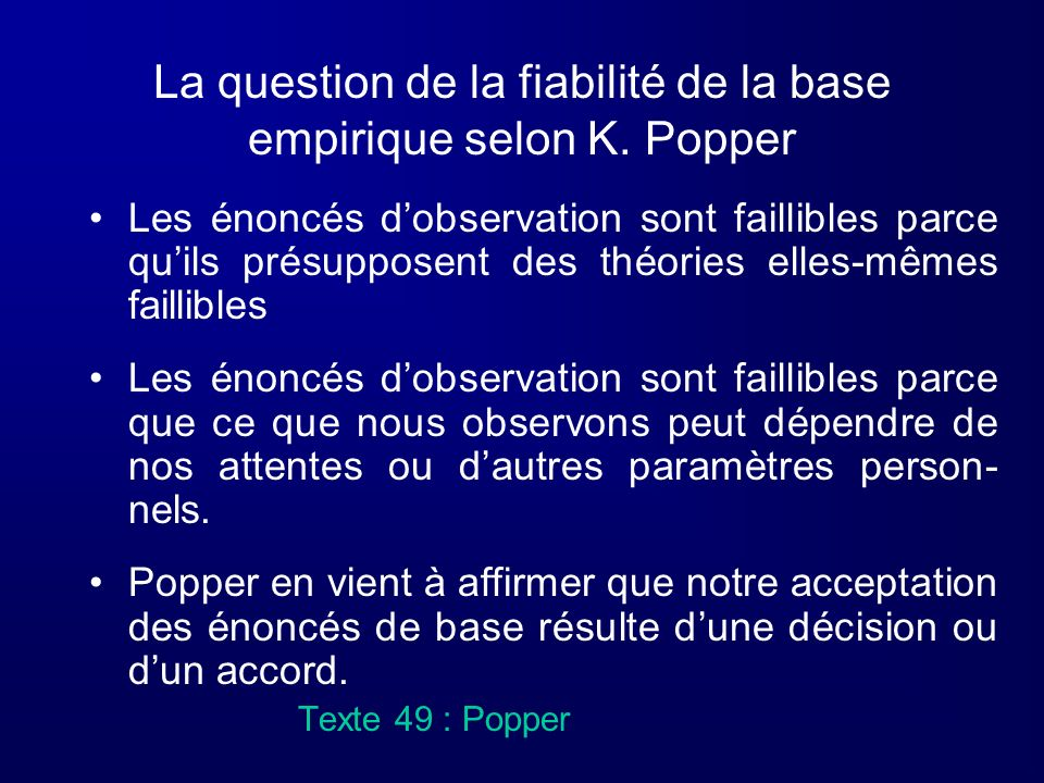 La question de la fiabilité de la base empirique selon K. Popper