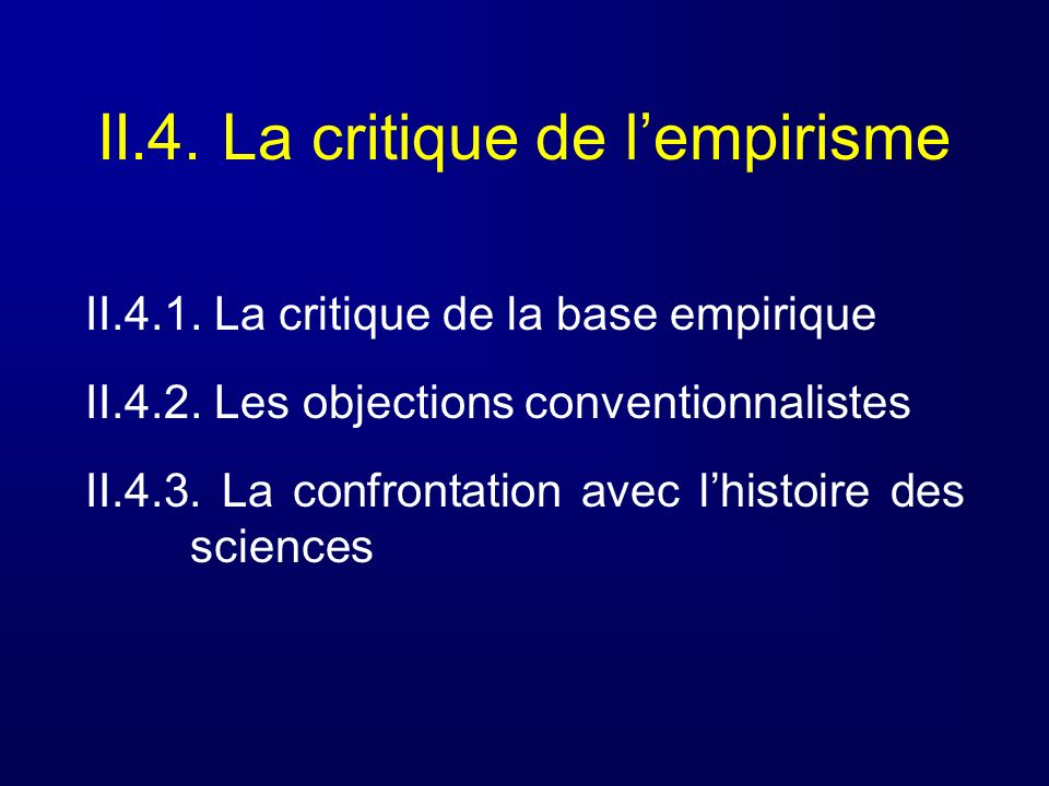 II.4. La critique de l'empirisme