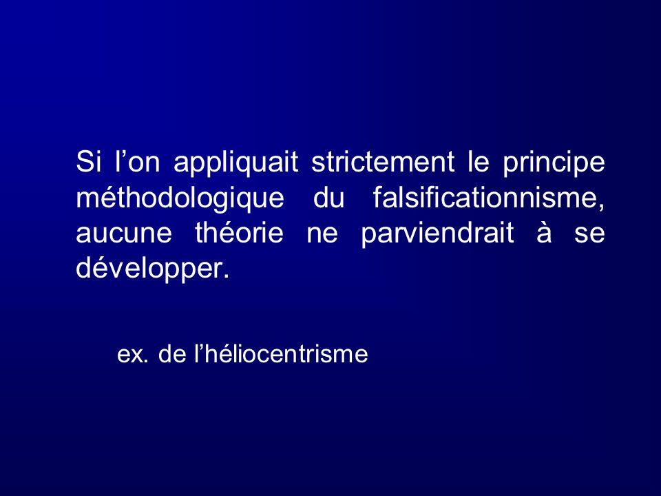 Si l'on appliquait strictement le principe méthodologique du falsificationnisme, aucune théorie ne parviendrait à se développer.