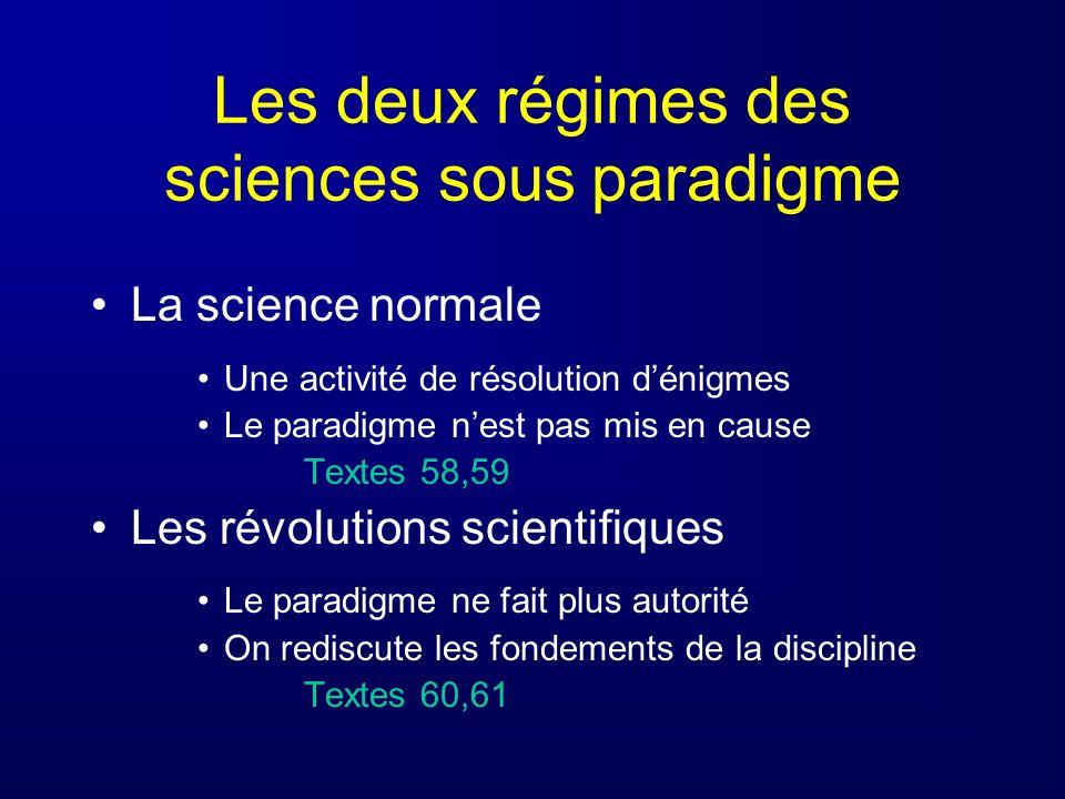 Les deux régimes des sciences sous paradigme
