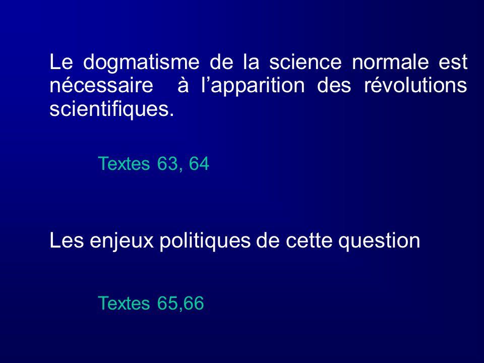 Le dogmatisme de la science normale est nécessaire à l'apparition des révolutions scientifiques.
