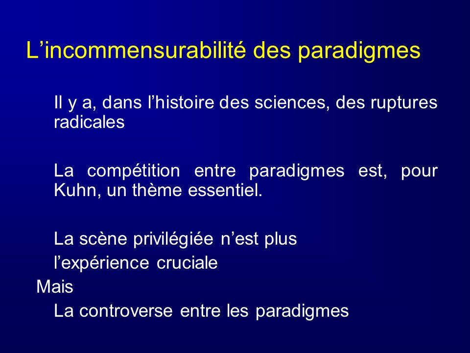 L'incommensurabilité des paradigmes