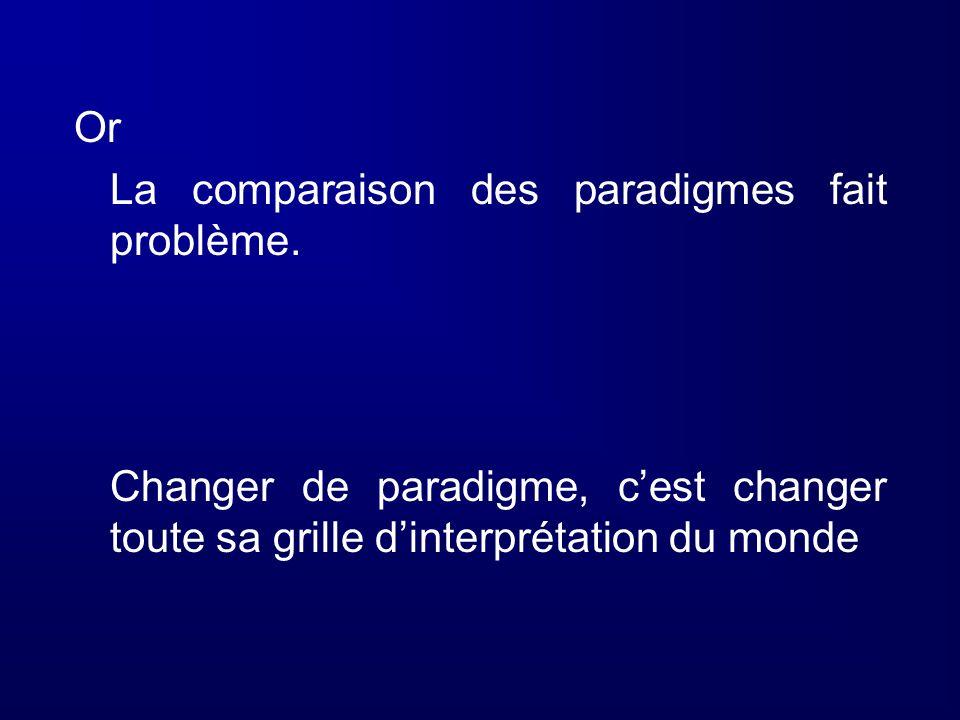 Or La comparaison des paradigmes fait problème.