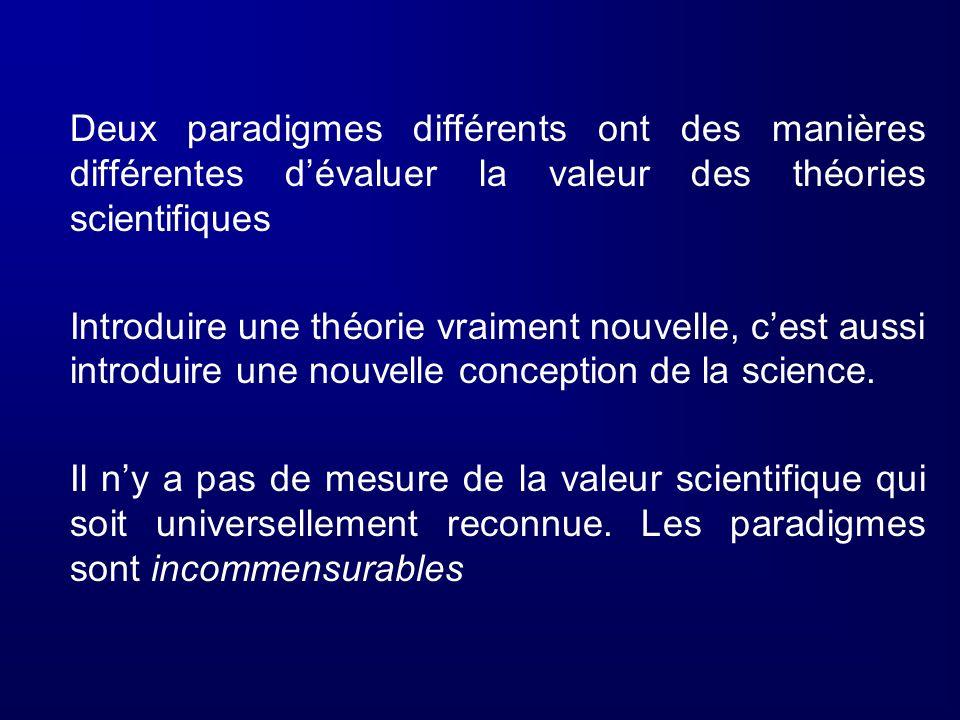 Deux paradigmes différents ont des manières différentes d'évaluer la valeur des théories scientifiques
