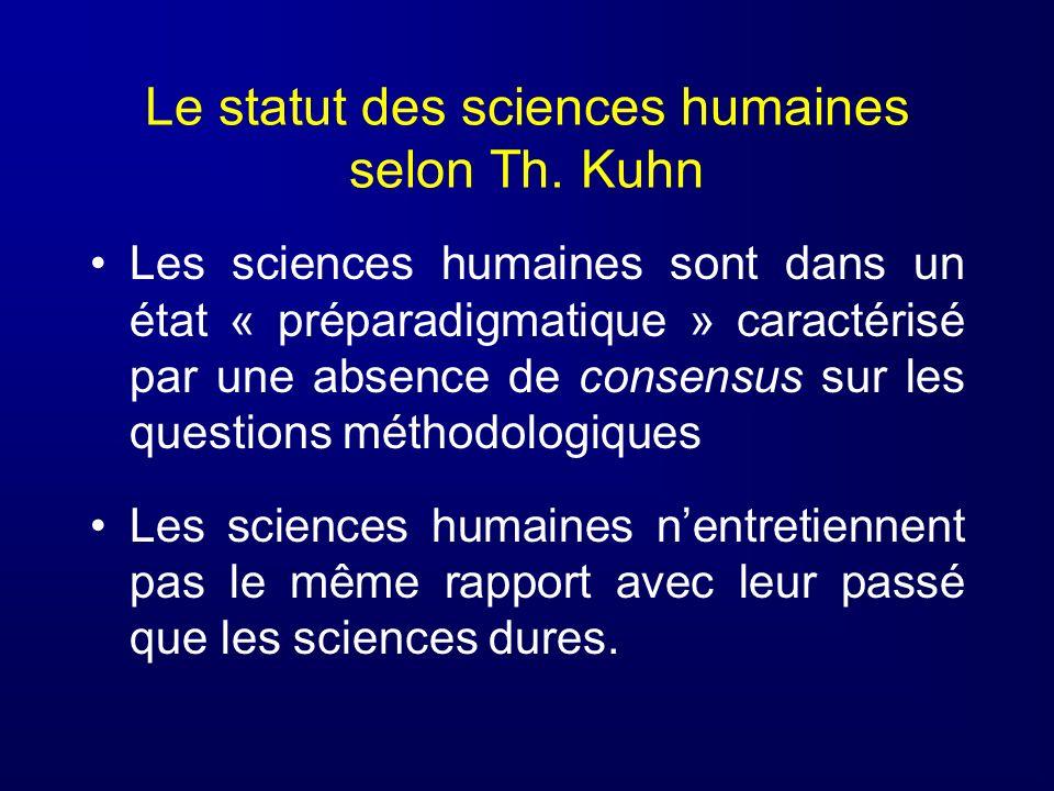 Le statut des sciences humaines selon Th. Kuhn