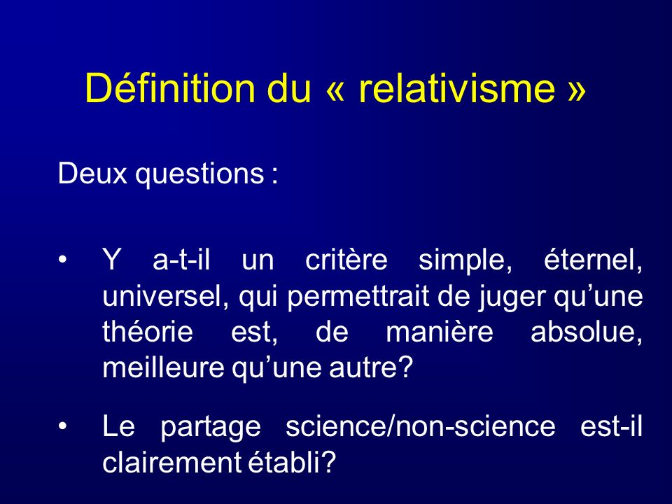 Définition du « relativisme »