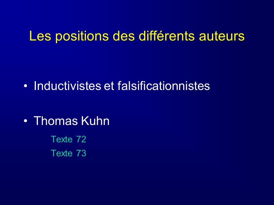 Les positions des différents auteurs