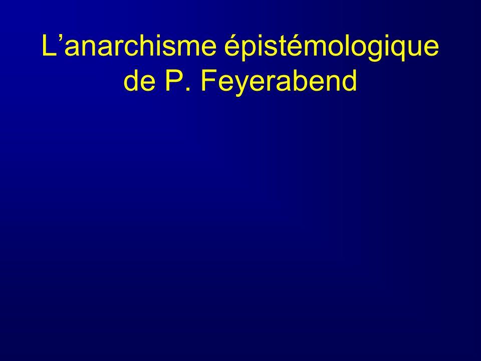 L'anarchisme épistémologique de P. Feyerabend