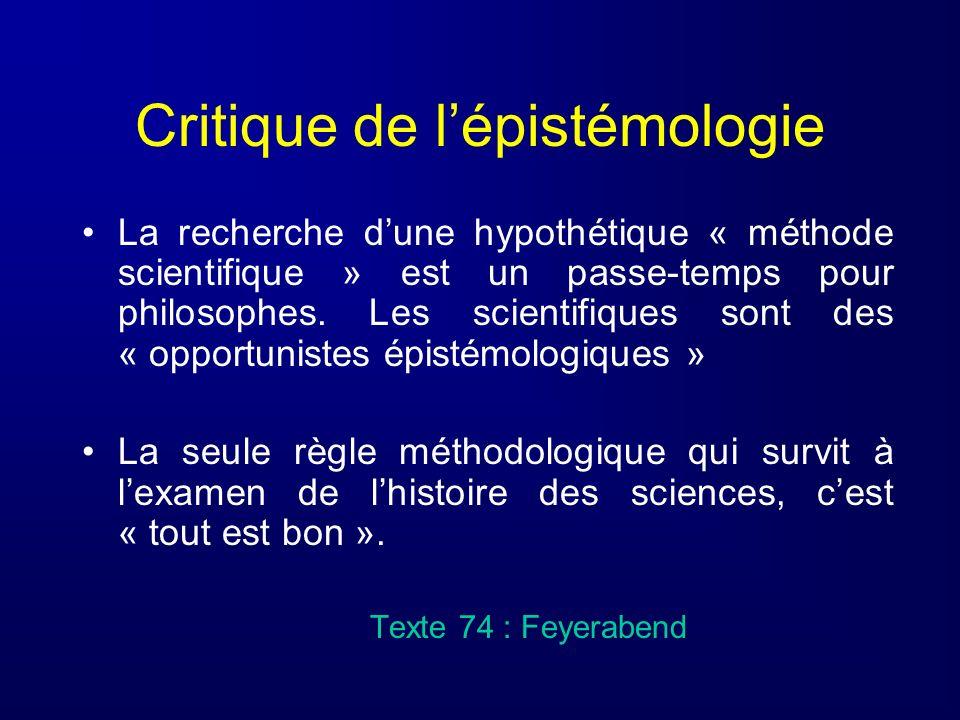 Critique de l'épistémologie