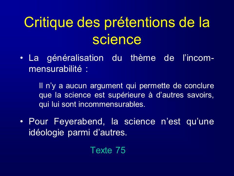 Critique des prétentions de la science