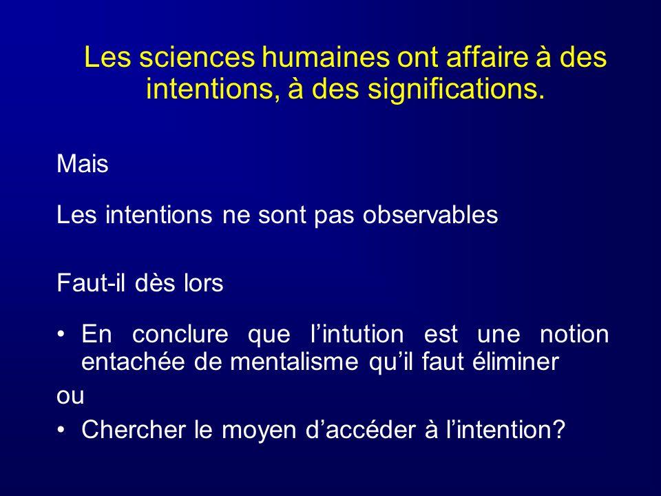 Les sciences humaines ont affaire à des intentions, à des significations.