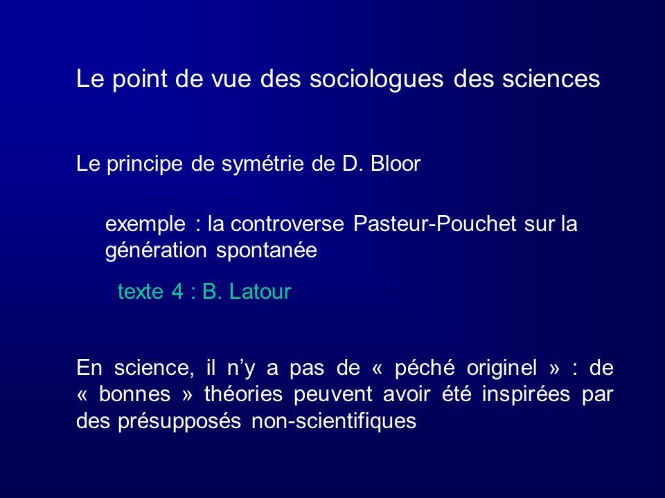 Le point de vue des sociologues des sciences