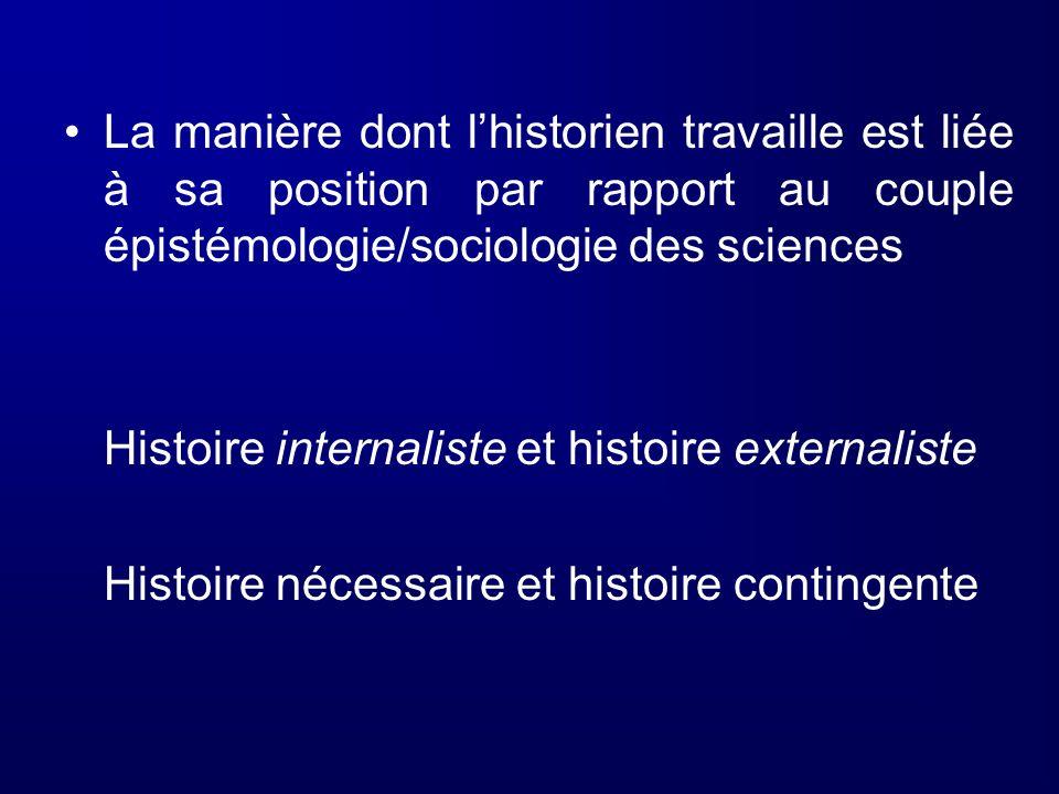 La manière dont l'historien travaille est liée à sa position par rapport au couple épistémologie/sociologie des sciences
