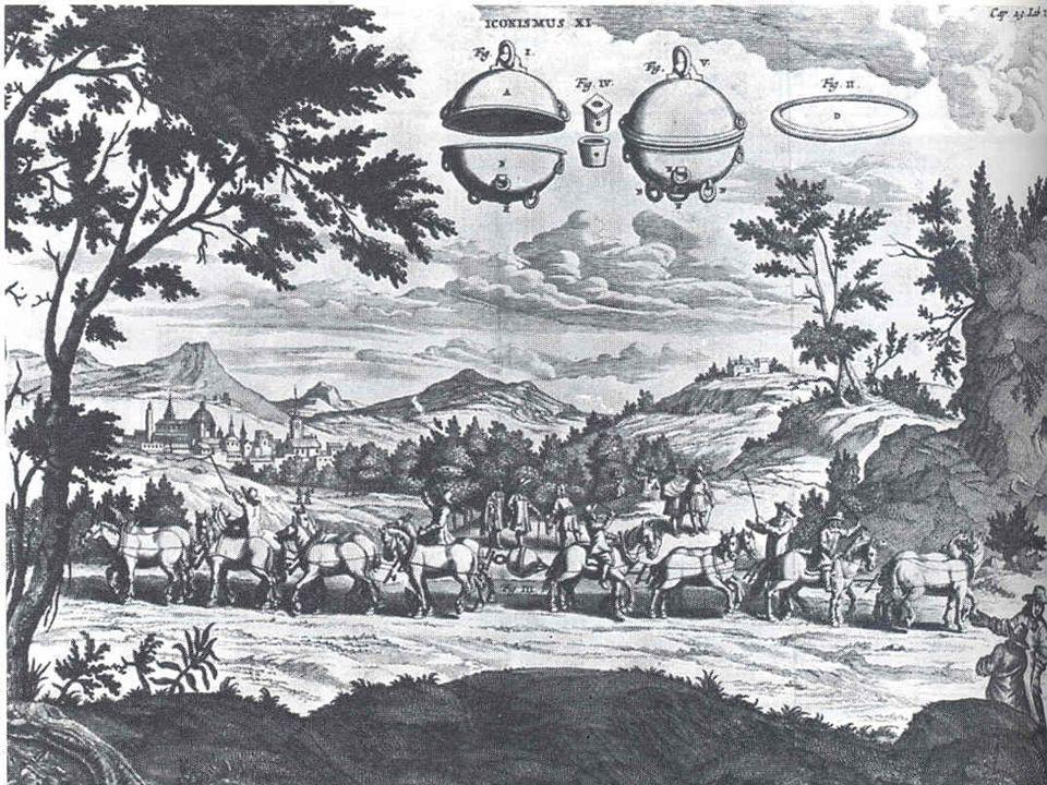 - Von guericke : L'expérience d'Otto von Guericke,pour démontrer la force du vide, avec deux hémisphère de cuivre dont l'air a été aspiré.