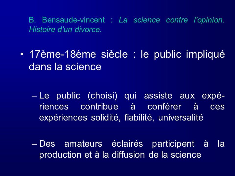 17ème-18ème siècle : le public impliqué dans la science