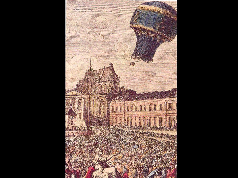 Mongolfière : En 1783, la dernière merveille de la science s'envole de Versailles : un ballon gonflé à l'air chaud auquel est suspendu une cage renfermant un mouton, un coq et un canard.