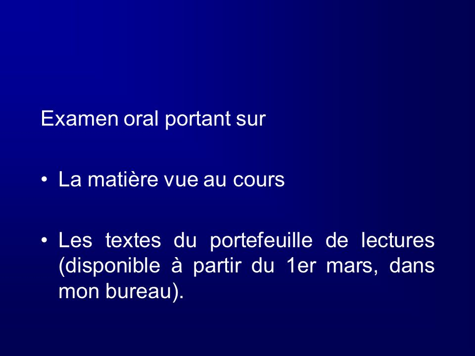 Examen oral portant sur