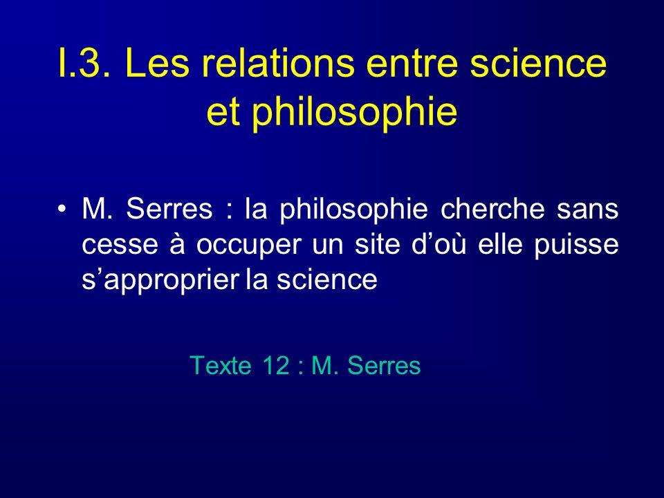 I.3. Les relations entre science et philosophie