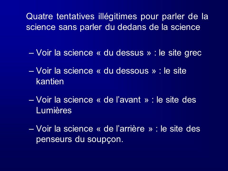 Quatre tentatives illégitimes pour parler de la science sans parler du dedans de la science