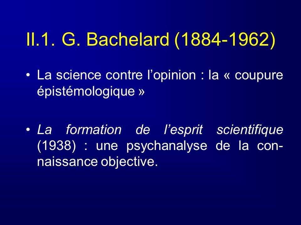 II.1. G. Bachelard (1884-1962)La science contre l'opinion : la « coupure épistémologique »