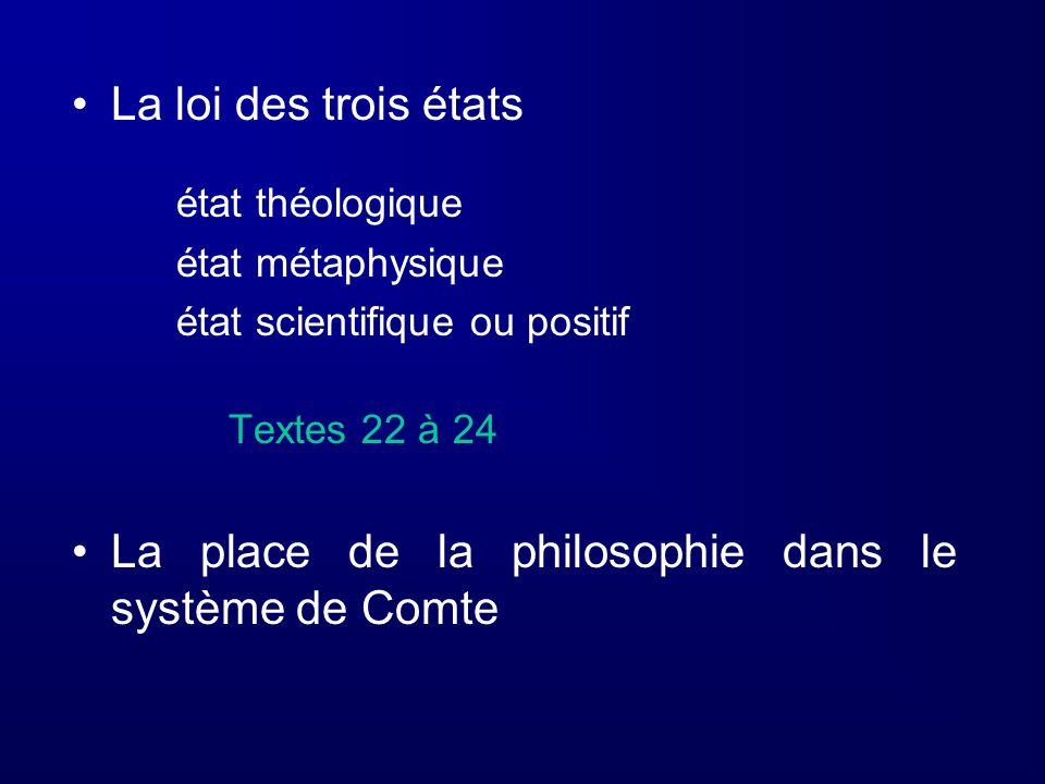 La place de la philosophie dans le système de Comte