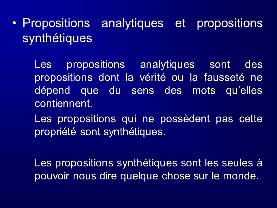 Propositions analytiques et propositions synthétiques