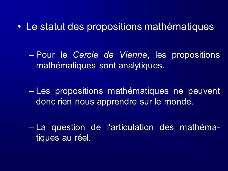 Le statut des propositions mathématiques