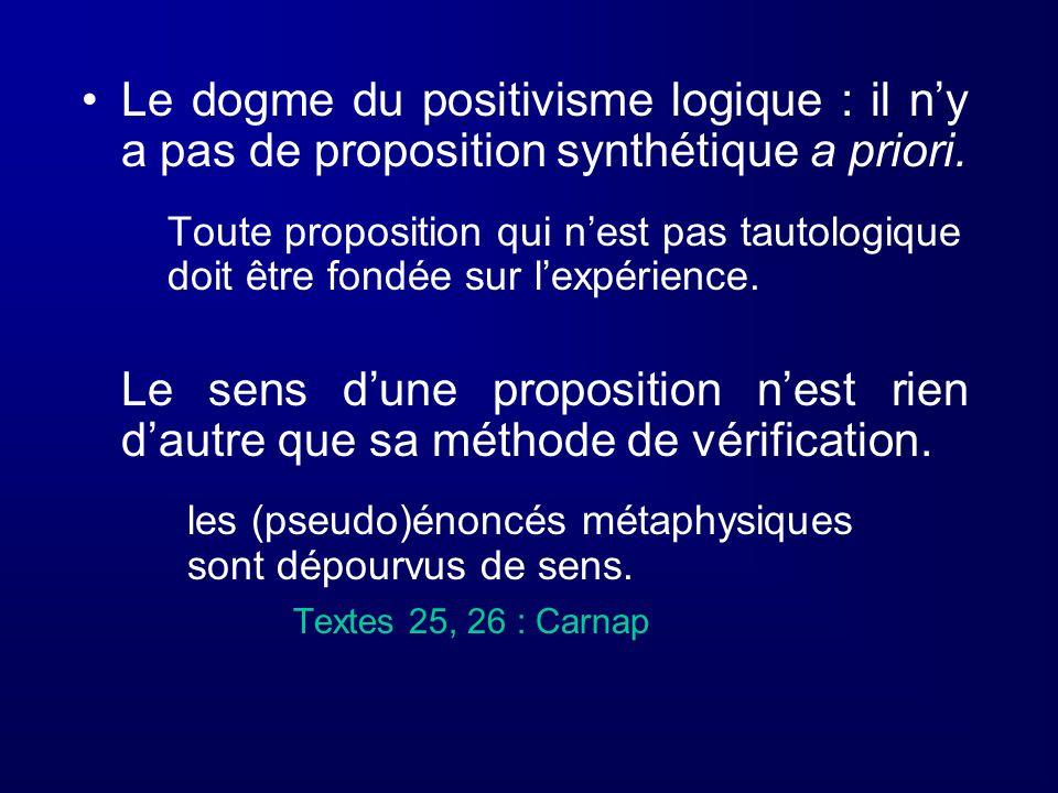 Le dogme du positivisme logique : il n'y a pas de proposition synthétique a priori.