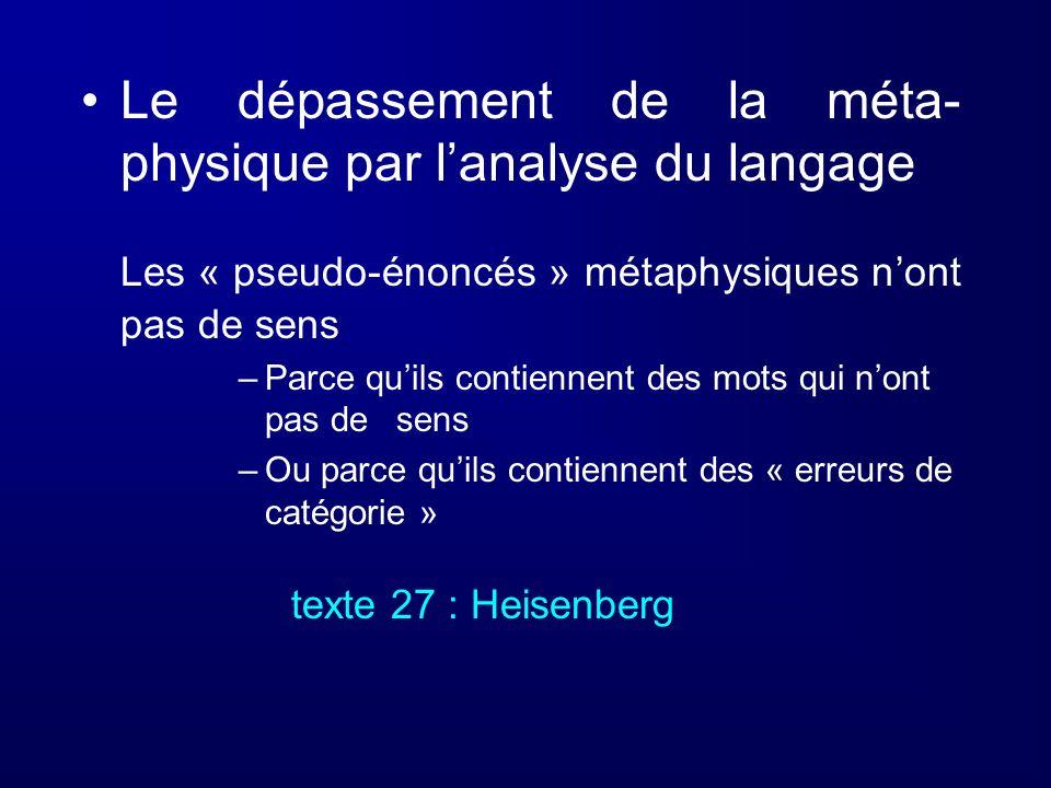 Le dépassement de la méta-physique par l'analyse du langage