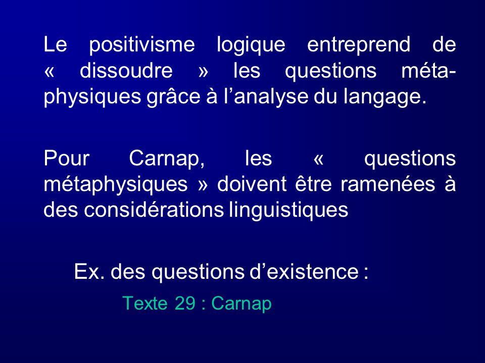 Le positivisme logique entreprend de « dissoudre » les questions méta-physiques grâce à l'analyse du langage.