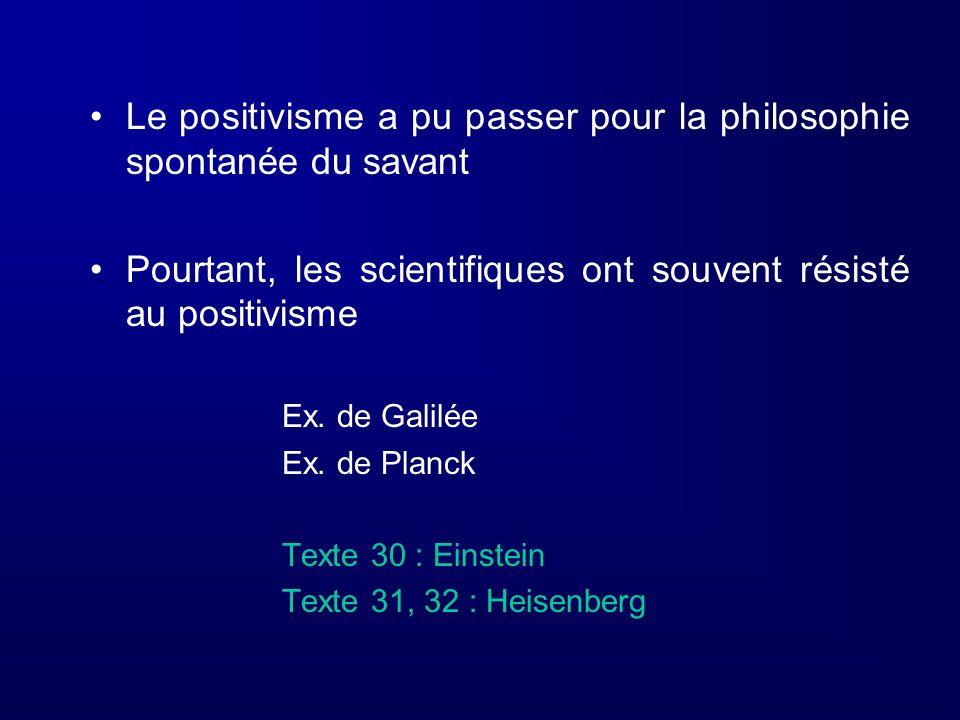Le positivisme a pu passer pour la philosophie spontanée du savant
