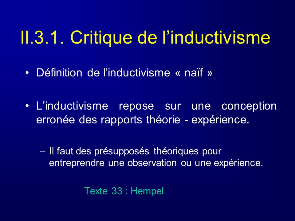 II.3.1. Critique de l'inductivisme