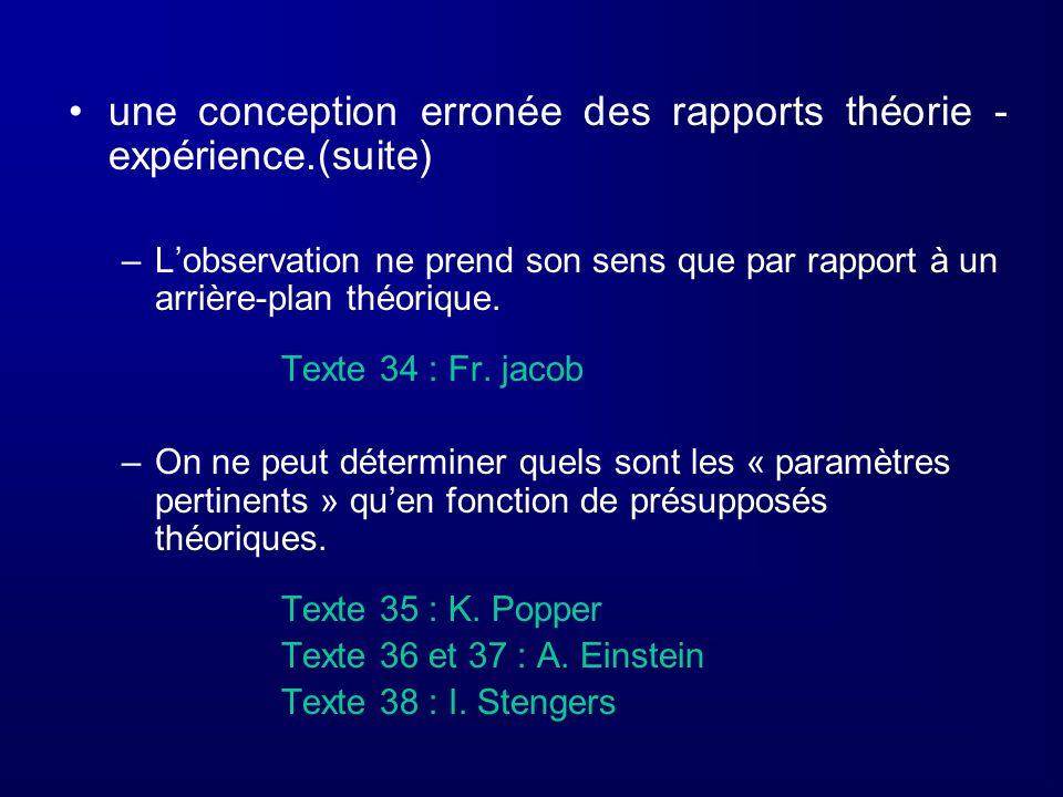 une conception erronée des rapports théorie - expérience.(suite)