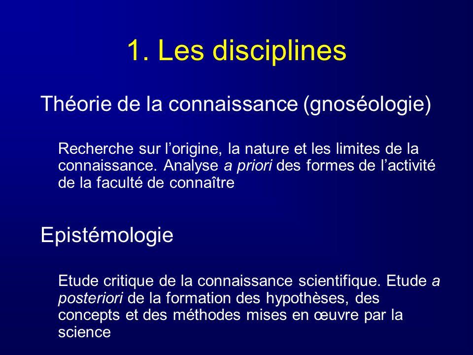1. Les disciplines Théorie de la connaissance (gnoséologie)