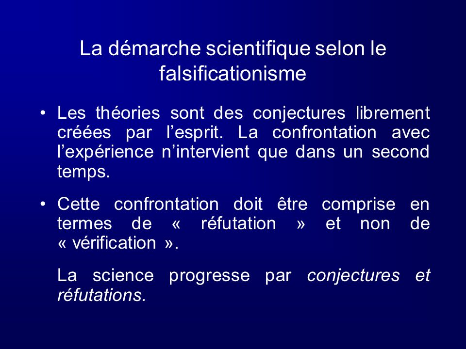 La démarche scientifique selon le falsificationisme