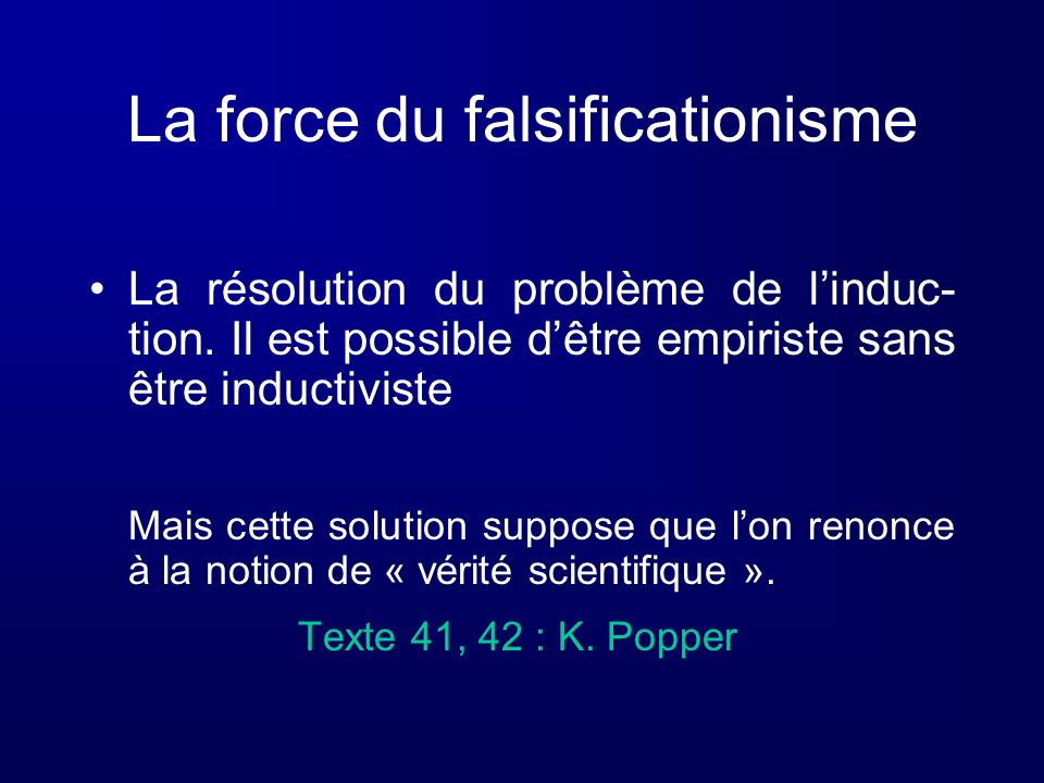 La force du falsificationisme