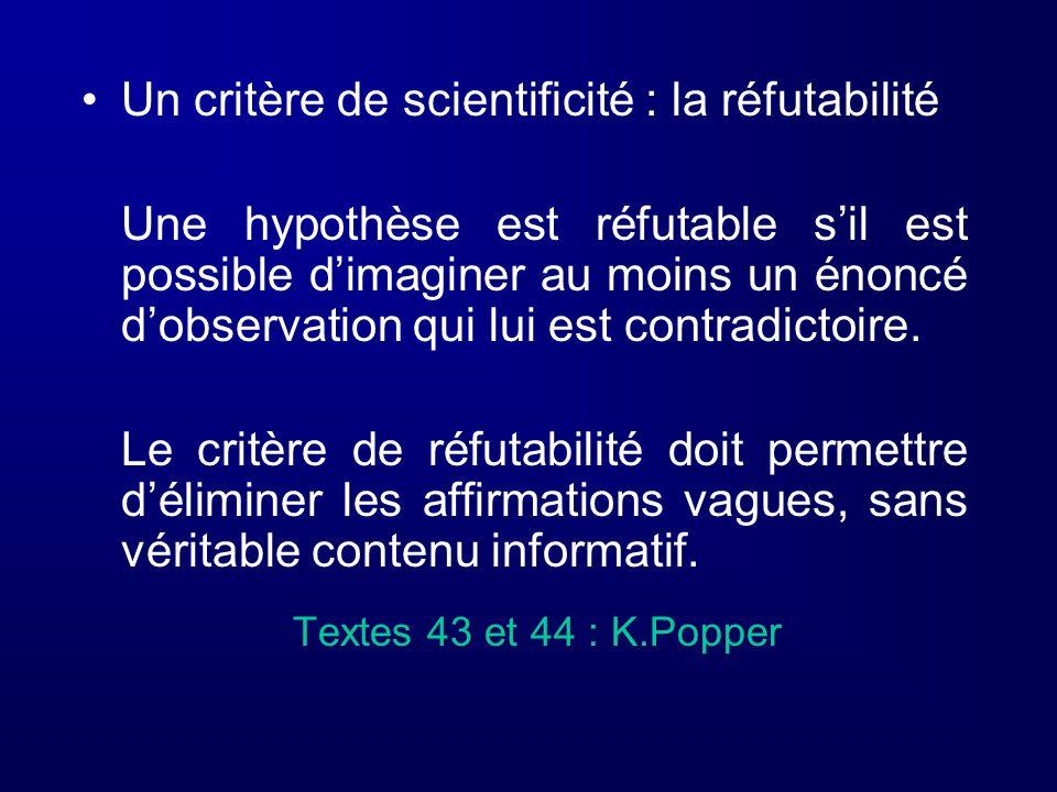 Un critère de scientificité : la réfutabilité