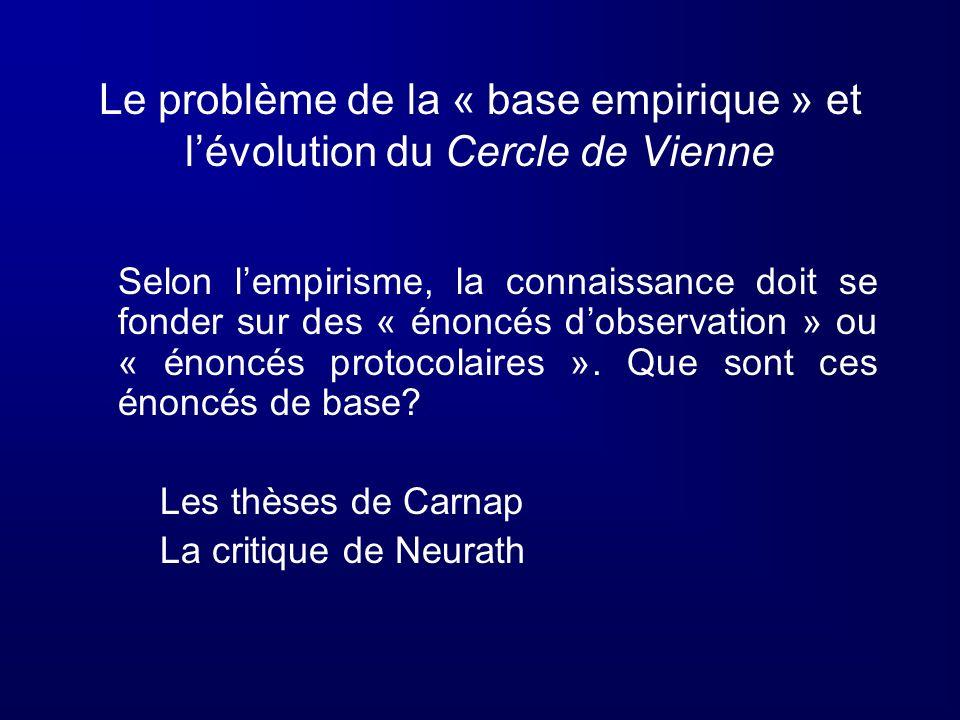 Le problème de la « base empirique » et l'évolution du Cercle de Vienne
