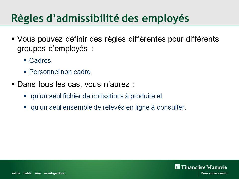 Règles d'admissibilité des employés