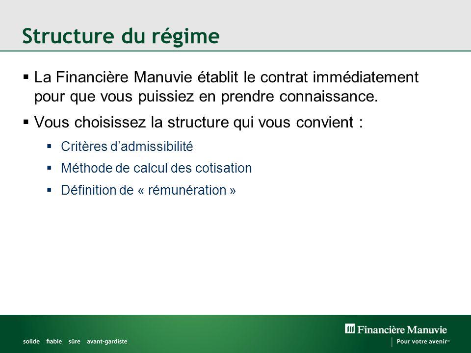 Structure du régime La Financière Manuvie établit le contrat immédiatement pour que vous puissiez en prendre connaissance.