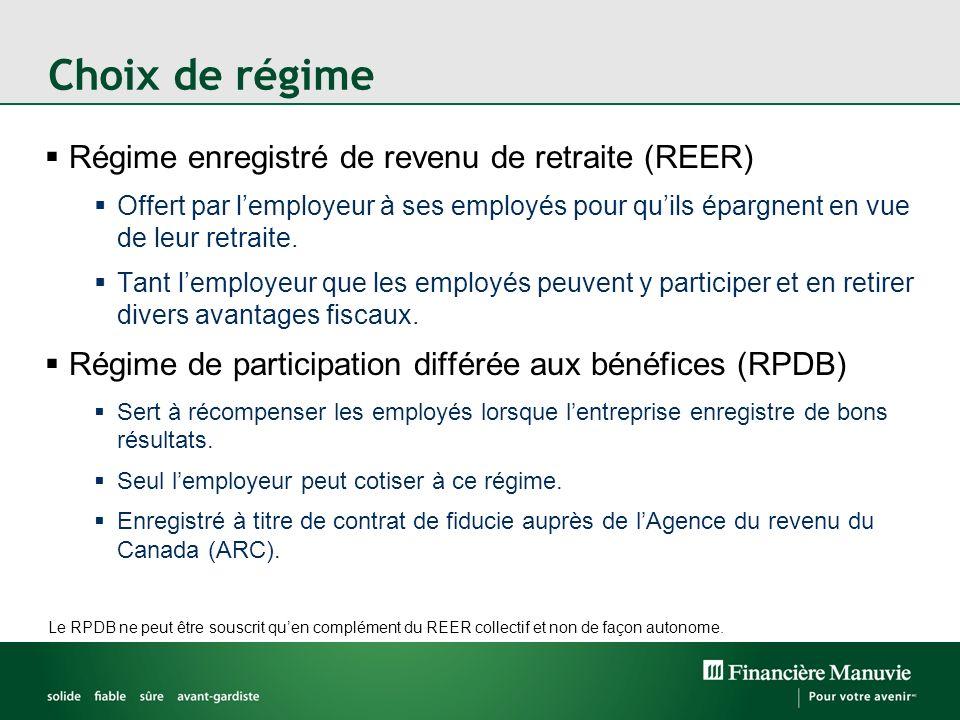 Choix de régime Régime enregistré de revenu de retraite (REER)