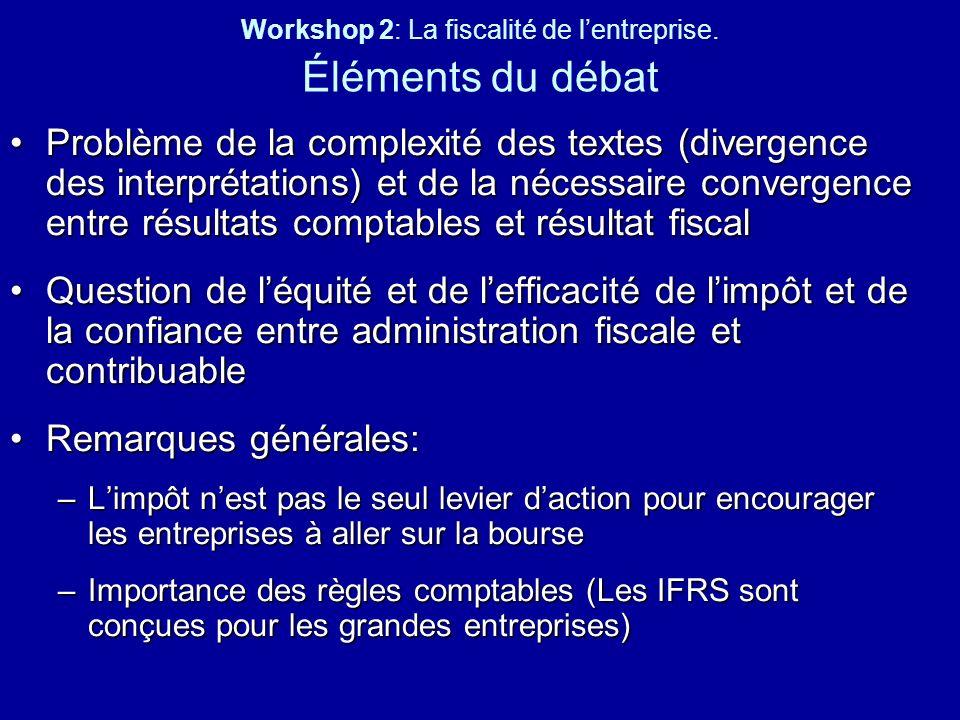 Workshop 2: La fiscalité de l'entreprise. Éléments du débat