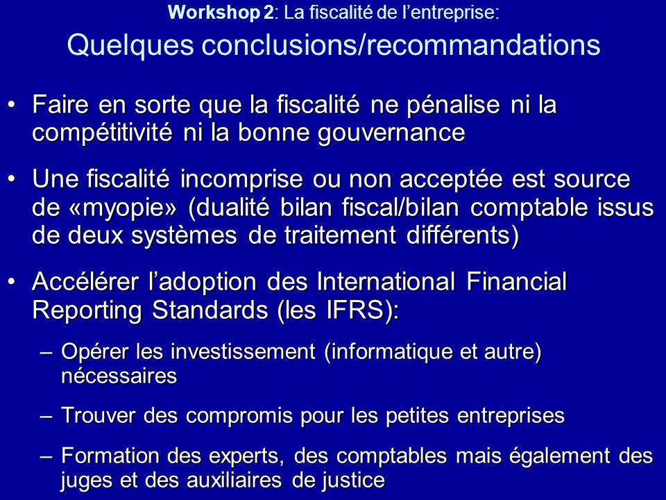 Workshop 2: La fiscalité de l'entreprise: Quelques conclusions/recommandations