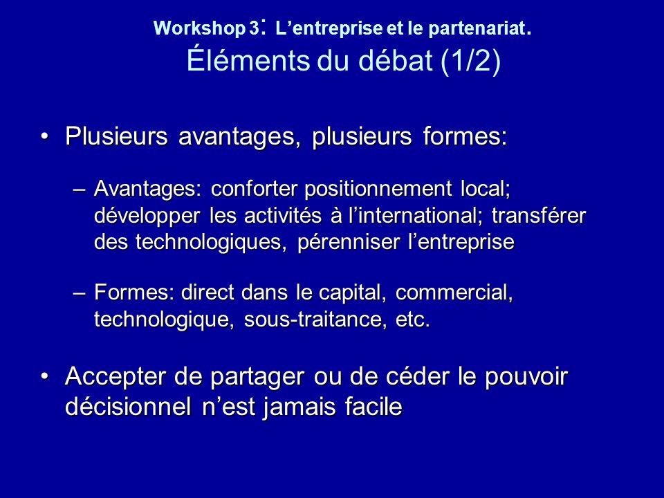 Workshop 3: L'entreprise et le partenariat. Éléments du débat (1/2)