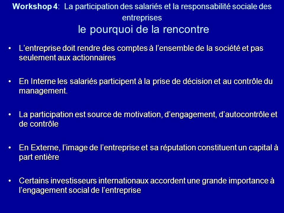 Workshop 4: La participation des salariés et la responsabilité sociale des entreprises le pourquoi de la rencontre